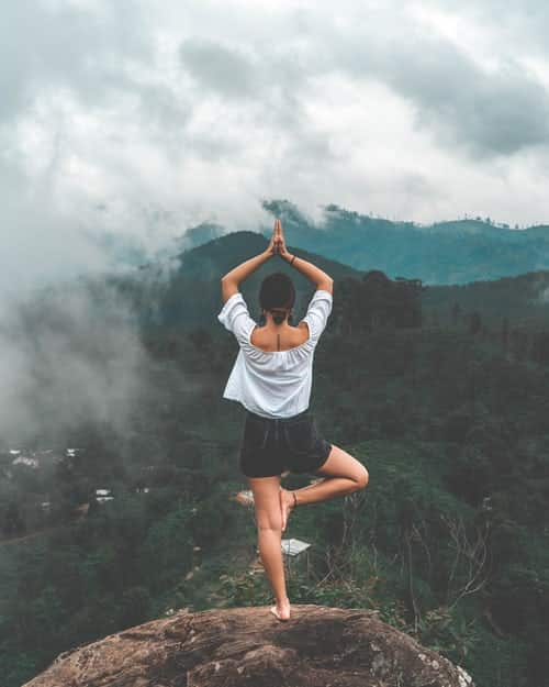 femme yogi en posture de l'arbre vrikshasana