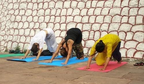 trois femmes pratiquent le yoga en extérieur posture ardho mukha asana